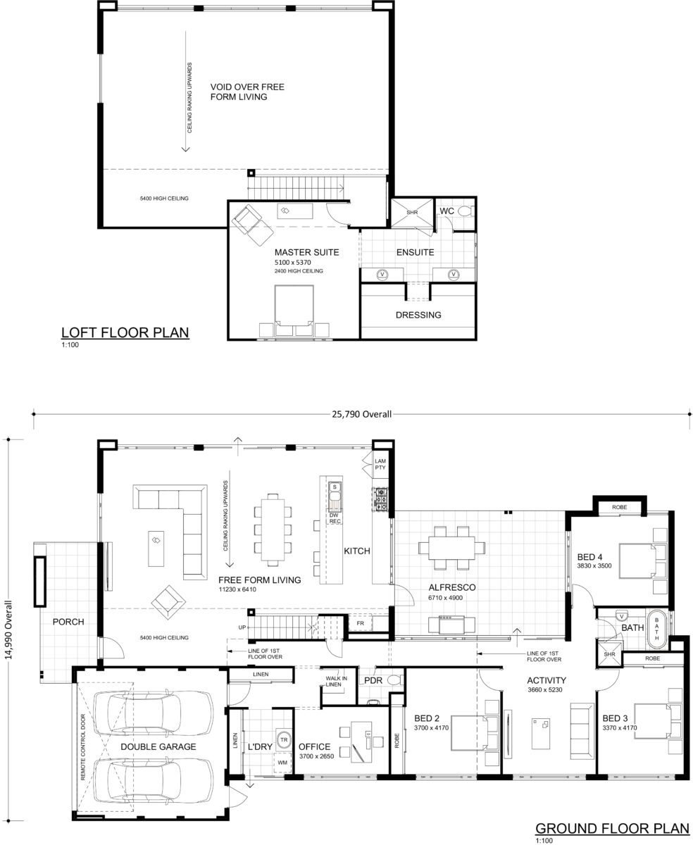 Floor plan friday free form living area with a void for Warehouse plans designs