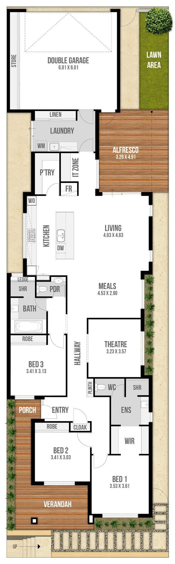 Floor plan friday narrow block with garage rear lane access for Narrow lot homes single storey