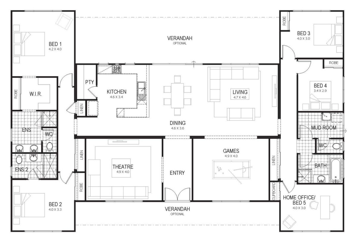 Floor plan friday country home for all the family for 6 bedroom country house plans