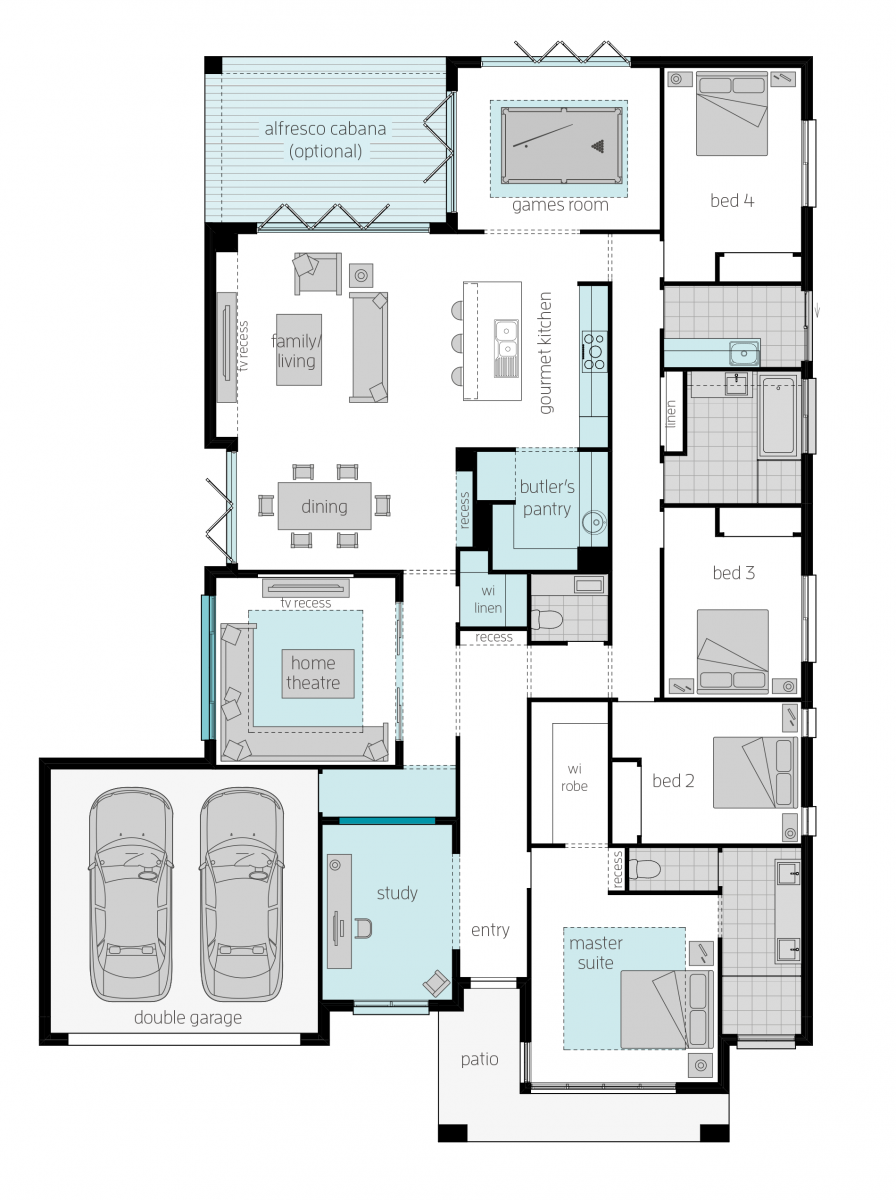 Floor Plan Friday Front Positioned Master With Additional Study Theatre Games Room