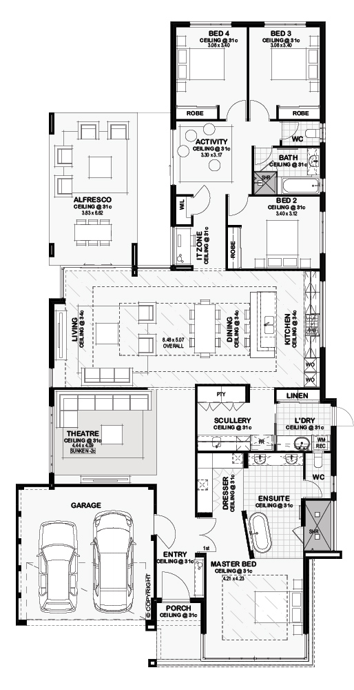 Floor Plan Friday: Open plan dining, living and kitchen with ...